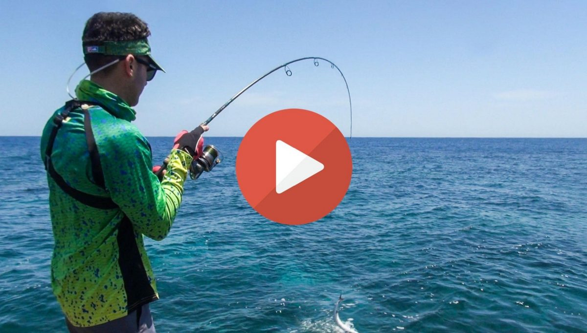 Shore fishing in Italy slow motion video